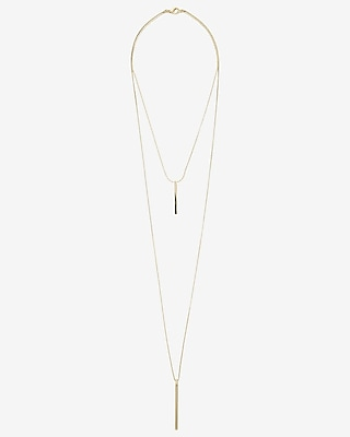 EXPRESS Women's Jewelry Metal Stick Hi Lo Necklace