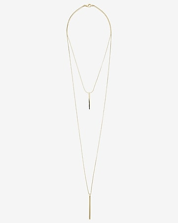 metal stick hi lo necklace