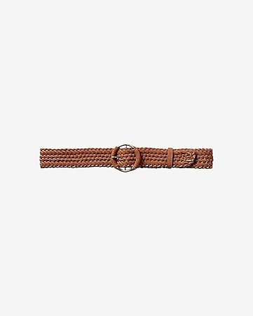 faux suede braided buckle belt