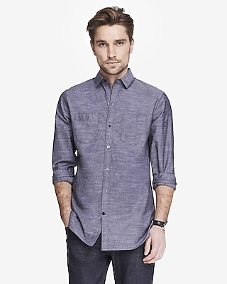 long slub chambray shirt