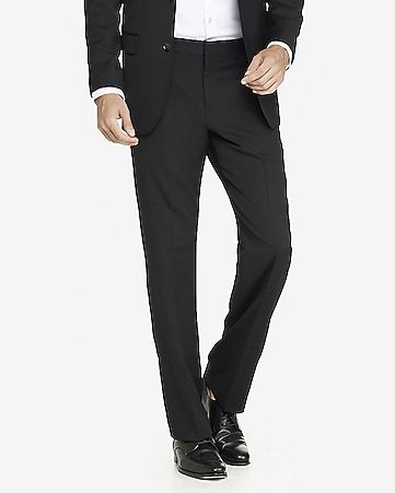modern producer stretch wool blend black suit pant