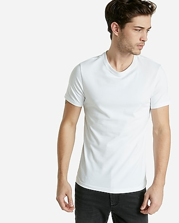 STRETCH COTTON CREW NECK TEE - PURE WHITE