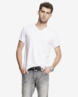 flex stretch cotton v-neck tee