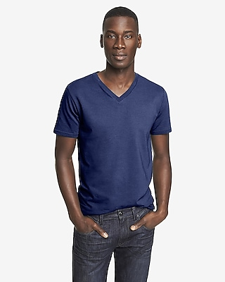 STRETCH COTTON V-NECK TEE