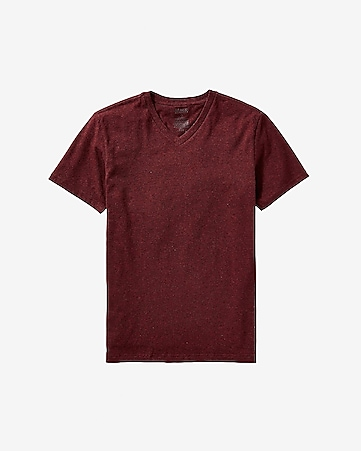 HEATHERED STRETCH COTTON V-NECK TEE - RUBY RED