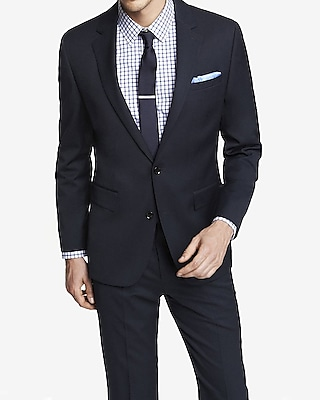 NAVY STRETCH WOOL BLEND PRODUCER SUIT JACKET