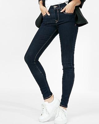 EXPRESS Women's Jean Leggings Solid Dark Mid Rise Jean Legging