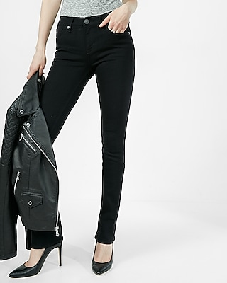 EXPRESS Women's Jeans Black Mid Rise Skyscraper Jean Black 4