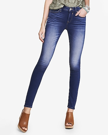 medium wash supersoft denim mid rise legging