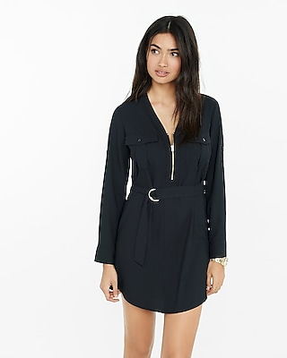 Zipper front shirt dress express for Zip up dress shirt