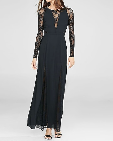 black lace sleeve and inset maxi dress