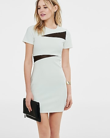 ivory mesh inset jacquard sheath dress