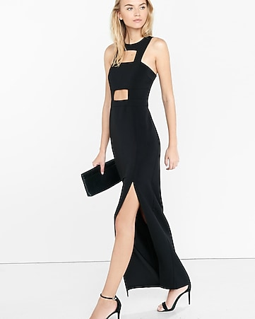 black front cut-out maxi dress