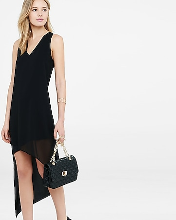 black  v-neck asymmetrical hi-lo hem dress