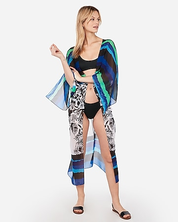 a294f9ef88efa Express View · striped tropical print swim kimono cover-up