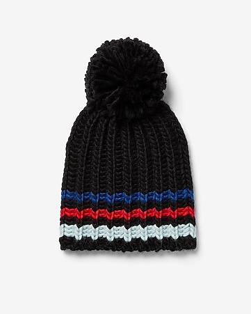 bf21e391f3354 express view · striped pom beanie