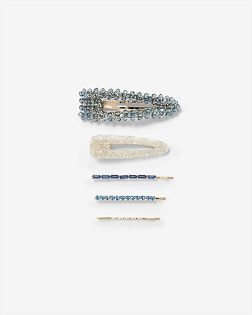 Set Of 5 Blue Embellished Hair Clips by Express