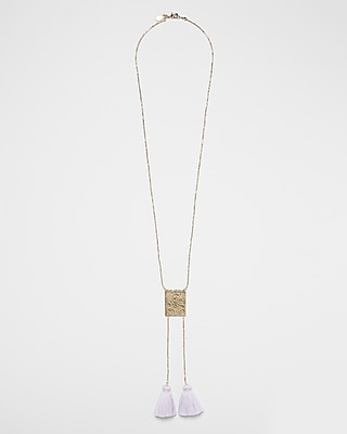 Double Tassel Rectangle Pendant Necklace by Express