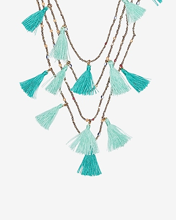 Express View Four Row Beaded Tassel Necklace
