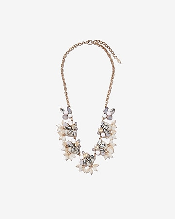 Express View Beaded Flower Cer Statement Necklace