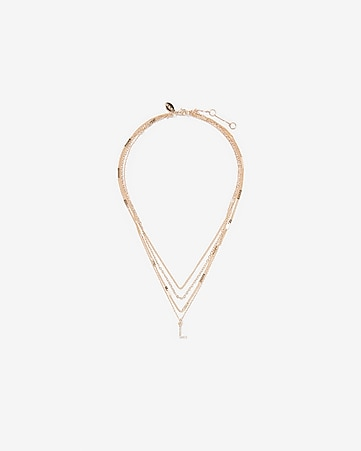 Layered Pave Letter L Pendant Necklace by Express