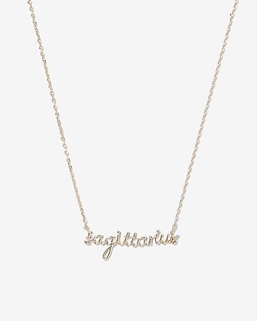 Sagittarius Zodiac Script Necklace by Express