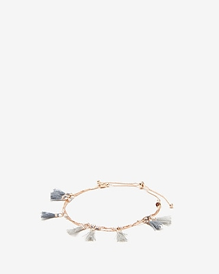 Gray Mini Tassel Pull Cord Bracelet by Express