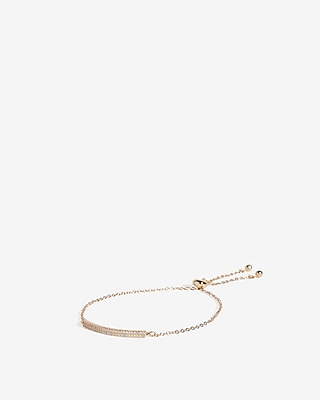 Cubic Zirconia Bar Pull Cord Bracelet by Express