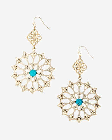 turquoise stone filigree double drop earrings