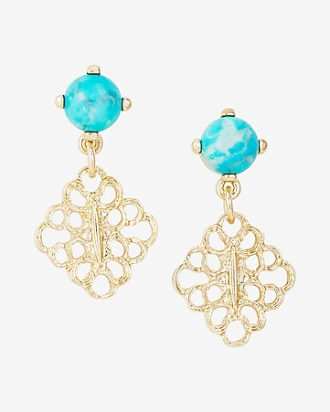 turquoise stone mini filigree drop earrings