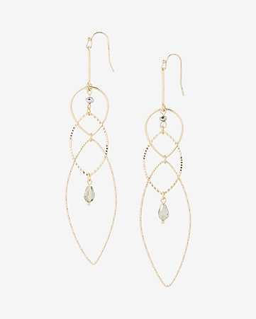 beaded mixed oval drop earrings