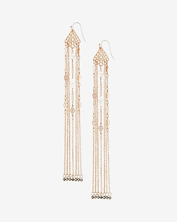 beaded filigree linear drop earrings