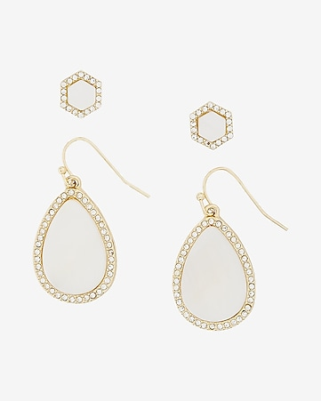 set of two embellished teardrop and stud earrings
