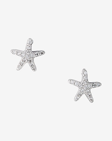 cubic zirconia starfish post earrings
