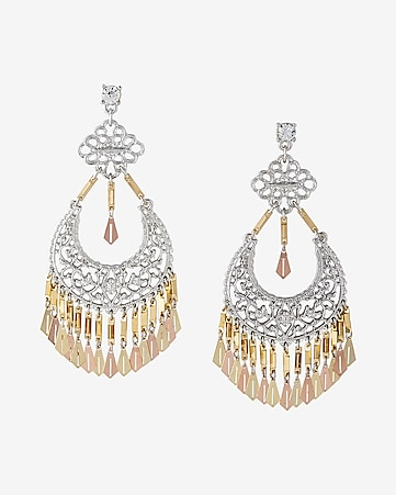 two tone filigree drop earrings