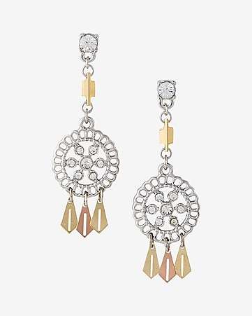 two tone mini filigree post back drop earrings