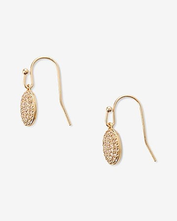 mini pave oval drop earrings