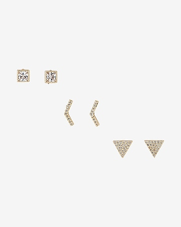set of three geometric stud earrings