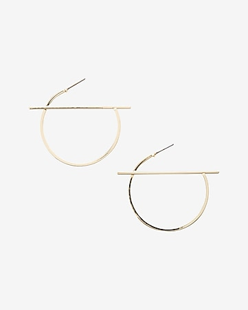 strikethrough hoop earrings