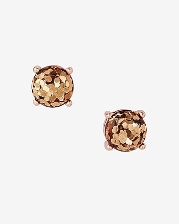 round glitter stud earrings