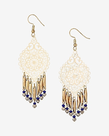 beaded fringe filigree drop earrings