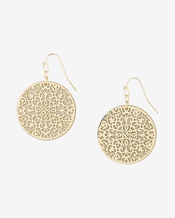 round glitter filigree drop earrings