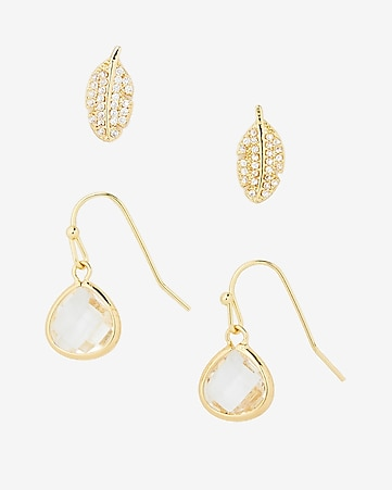 set of two pave leaf and teadrop earrings