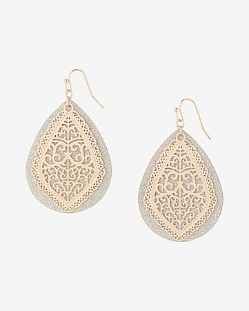 Express View Teardrop Glitter Filigree Drop Earrings