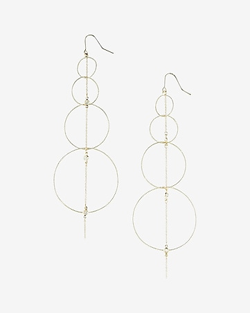 linear hoop drop earrings
