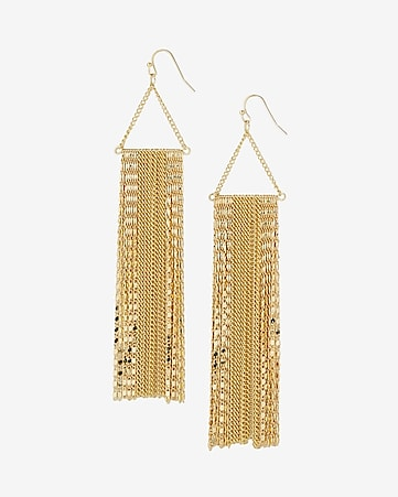 mixed metal fringe drop earrings