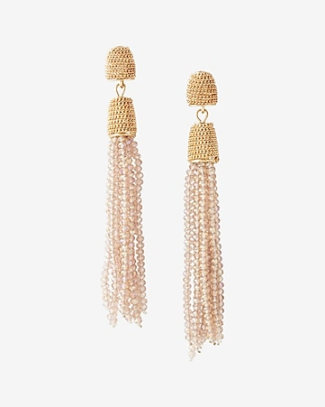 faceted glitzy tassel drop earrings