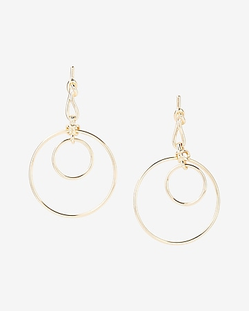 status knot double hoop earrings