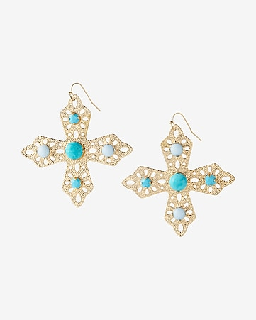 turquoise filigree cross drop earrings