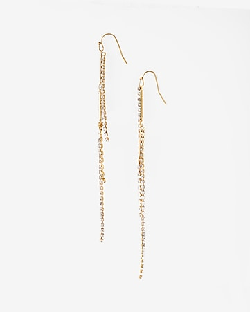 stacked rhinestone linear drop earrings